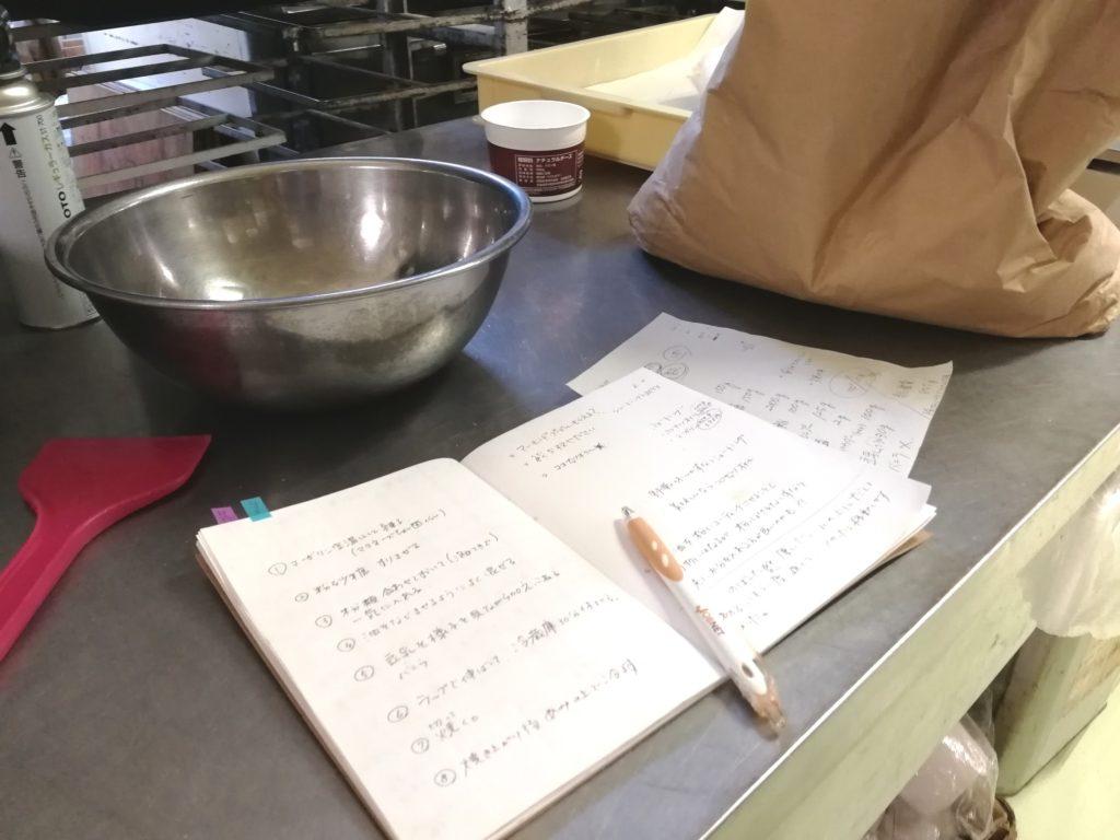 レシピと調理台